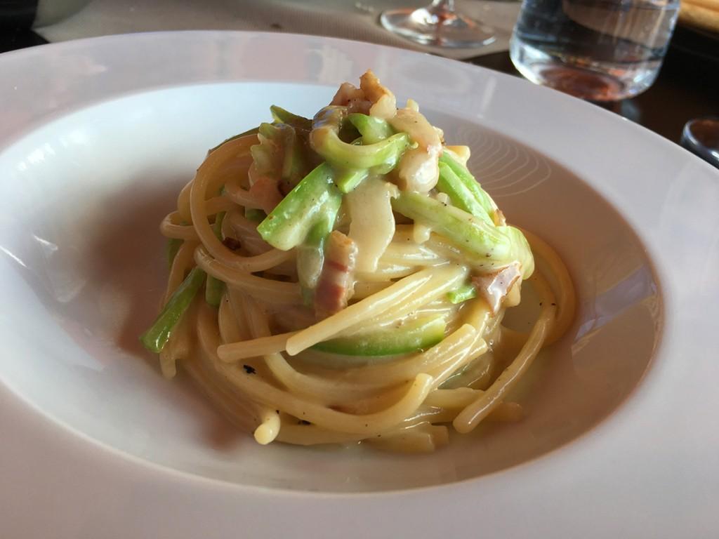 spaghetti Martelli al Parmigiano, guanciale e zucchina