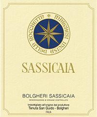 la famosa etichetta del Sassicaia